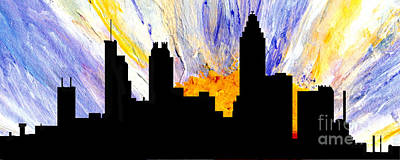 Painting - Decorative Abstract Skyline Atlanta T1115a1 by Mas Art Studio
