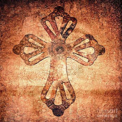 Painting - Decorative Antique Cross A39816 by Mas Art Studio