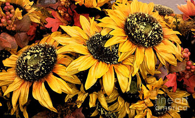 Painting - Decorative Autumn Sunflowers Mixed Media A172016 by Mas Art Studio