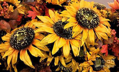 Painting - Decorative Autumn Sunflowers Mixed Media A172016 by Mas Art Studio