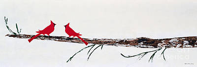 Painting - Decorative Cardinals A101216 by Mas Art Studio