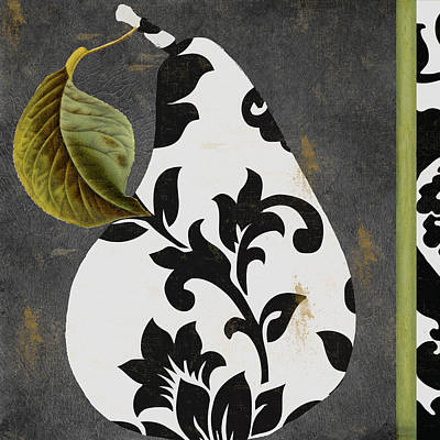 Still Life Tapestries Textiles Painting - Decorative Damask Pear I by Mindy Sommers