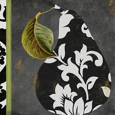 Pears Painting - Decorative Damask Pear II by Mindy Sommers