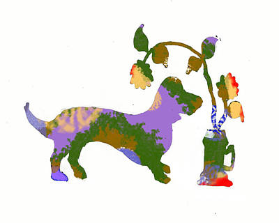 Dachshunds Doxie Digital Art - Decorative Doxie 1 by Holly McGee