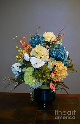 Fushia Mixed Media - Decorative Floral Mixed Media B3117 by Mas Art Studio