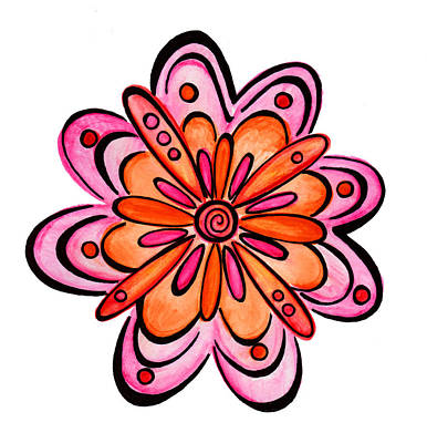 Cute Drawing - Decorative Flower 1 by Sandi Fender