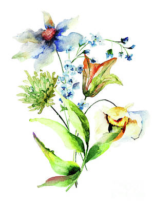 Decorative Flowers Art Print