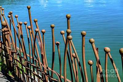 Photograph - Decorative Iron Fence And Turqouise Water, Lefkada, Greece by Global Light Photography - Nicole Leffer