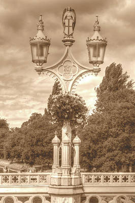 Photograph - Decorative Lamp Posts On Lendal Bridge York Hdr Sepia Tone by Jacek Wojnarowski