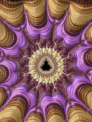 Modern Fractal Art Photograph - Decorative Luxe Mandelbrot Fractal Purple Gold by Matthias Hauser