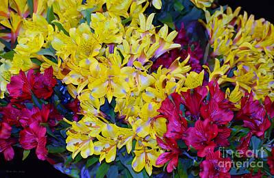Fushia Mixed Media - Decorative Mixed Media Floral A3117 by Mas Art Studio