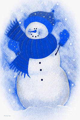Painting - Decorative Mixed Media Snowman by Mas Art Studio
