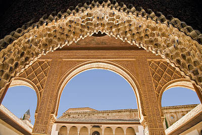 Decorative Moorish Architecture In The Nasrid Palaces At The Alhambra Granada Spain Art Print by Mal Bray