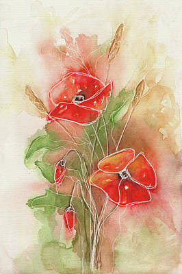 Painting - Watercolor Painting 1 Poppies  by Christine MARTIN