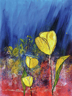Mixed Media - Decorative Painting 2 Tulip by Christine MARTIN