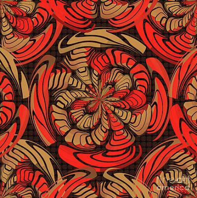 Algorithmic Digital Art - Decorative Red And Brown by Gaspar Avila