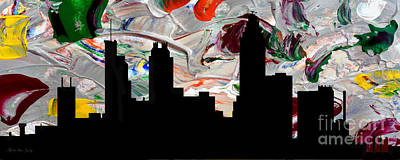 Painting - Decorative Skyline Abstract  Atlanta T1115g by Mas Art Studio