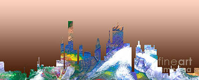 Painting - Decorative Skyline Abstract  Houston T1115c by Mas Art Studio