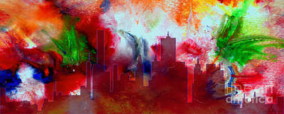 Painting - Decorative Skyline Abstract  Houston T1115e by Mas Art Studio