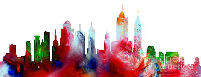 Painting - Decorative Skyline Abstract New York P1015c by Mas Art Studio