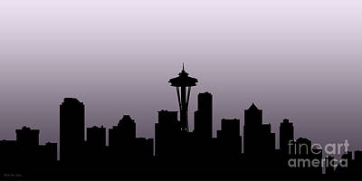 Painting - Decorative Skyline Abstract  Seattle T1115x by Mas Art Studio