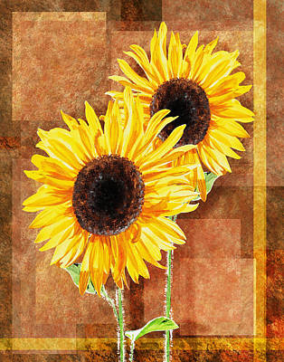 Painting - Decorative Sunflowers Couple by Irina Sztukowski