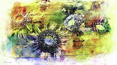Painting - Decorative Sunflowers Mixed Media A772016  by Mas Art Studio