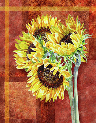 Painting - Decorative Sunflowers Painting  by Irina Sztukowski