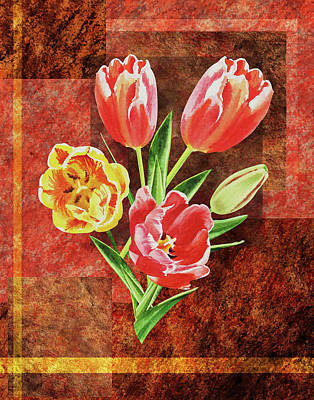 Painting - Decorative Tulips Bouquet  by Irina Sztukowski