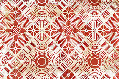 Graphical Painting - Decorative Vintage Pattern Sanguine Red by Frank Tschakert