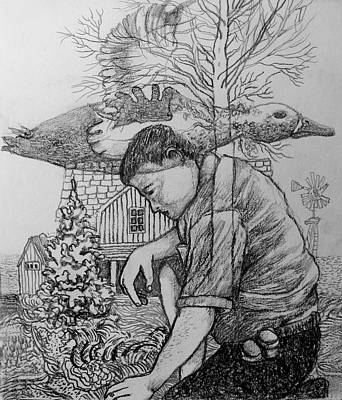 Indiana Landscapes Drawing - Decoys And Distractions by James Huntley
