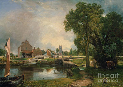 Reflecting Tree Painting - Dedham Lock And Mill by John Constable