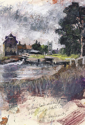 Painting - Dedham Lock And Mill,oil Pastel After John Constable by Martin Stankewitz