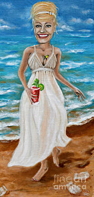 Bloody Mary Painting - Dee With Her Bloody Mary by Leandria Goodman
