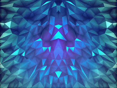 Deep Blue Collosal Low Poly Triangle Pattern  Modern Abstract Cubism  Design Art Print