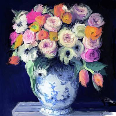 Painting - Deep Blue Florabundance by Kimberly Potts