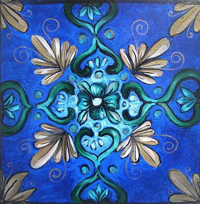Ceramic Art Tile Painting - Deep Blue by Luciana Toma
