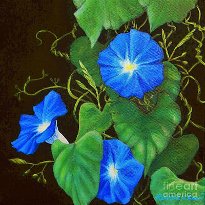 Painting - Deep Blue Morning Glory by Ruanna Sion Shadd a'Dann'l Yoder
