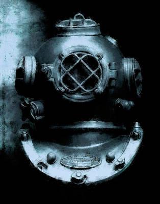 Diving Helmet Mixed Media - Deep Blue Sea by Daniel Hagerman