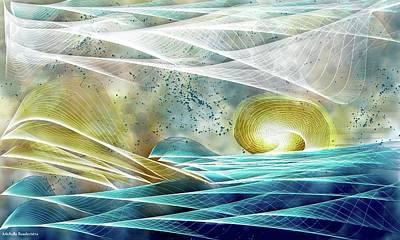 Abstract Beach Landscape Digital Art - Deep Blue Sea by Michelle Ressler