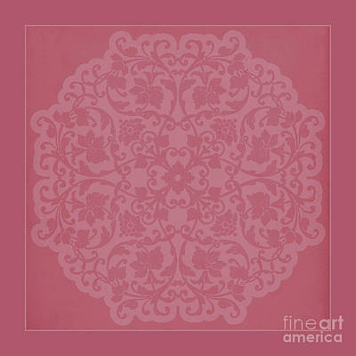 Lace Mixed Media - Deep Blush Pink Vintage Lace Silhouette by Tina Lavoie