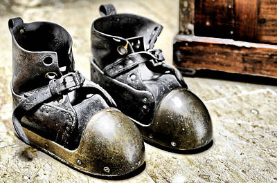 Photograph - Deep Diver Boots Hdr And Vintage Process by Pedro Cardona