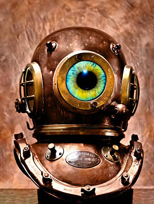Surrealistic Photograph - Deep Diver Cyclops Helmet In Hdr And Vintage Process by Pedro Cardona