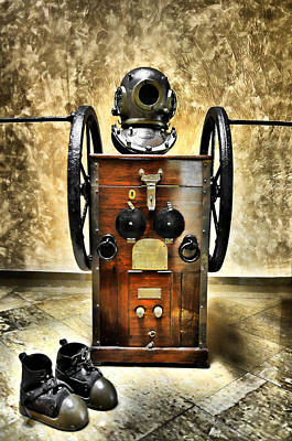 Marine Photograph - Deep Diver Equipment In Vintage Process by Pedro Cardona Llambias