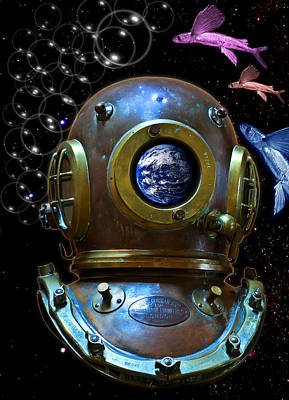 Deep Diver In Delirium Of Blue Dreams Art Print by Pedro Cardona