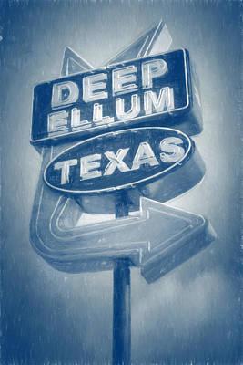 Vintage Signs Photograph - Deep Ellum Blue by Joan Carroll