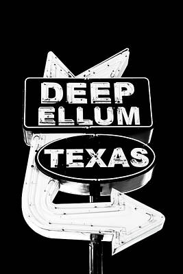 Photograph - Deep Ellum Sign Bw 102616 by Rospotte Photography