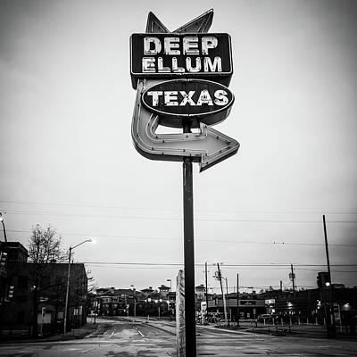 Photograph - Deep Ellum Texas Neon Sign - Dallas Texas Black And White by Gregory Ballos