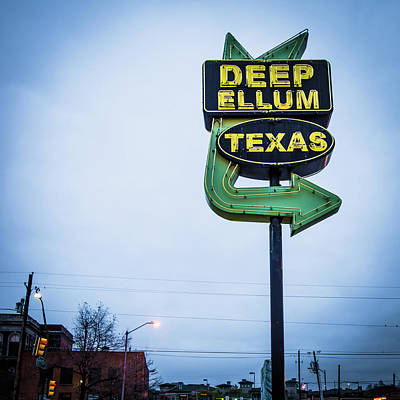Photograph - Deep Ellum Texas Vintage Neon Sign - Dallas Texas Square Art by Gregory Ballos