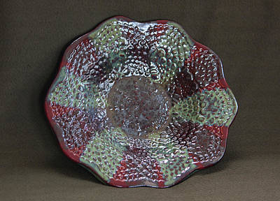 Hand-built Ceramic Art - Deep Firebrick And Seaweed And Saturation Gold Textured Bowl by Suzanne Gaff